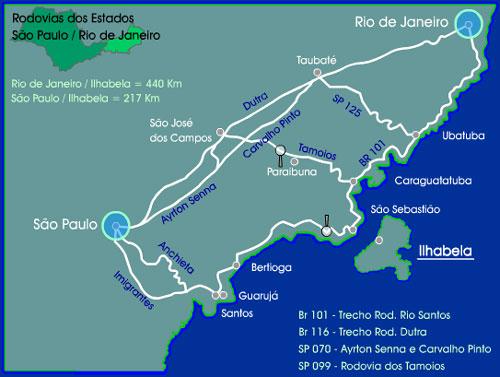 Mapa para llegar a Ilhabela