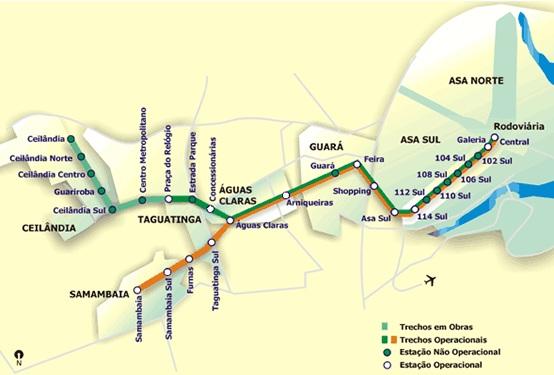 Ruta del metro de Brasilia