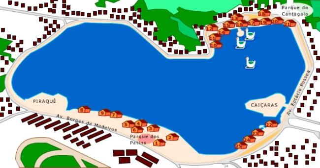 Mapa de la laguna Rodrigo de Freitas