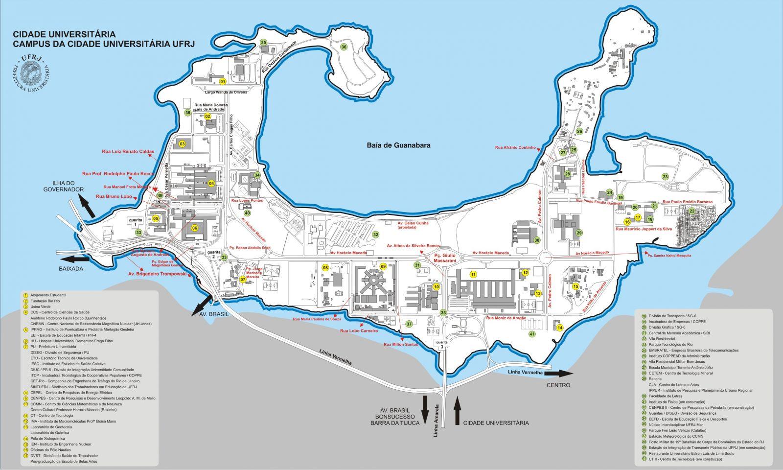 Mapa de la Ciudad Universitaria de Río de Janeiro