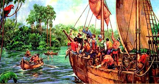 Llegada de Orellana a la región del Amazonas