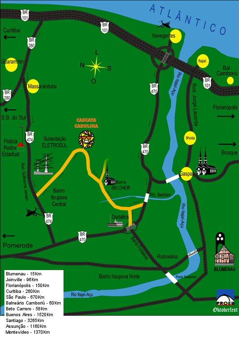 Mapa para llegar al Parque Aquático Hidromineral Cascata Carolina