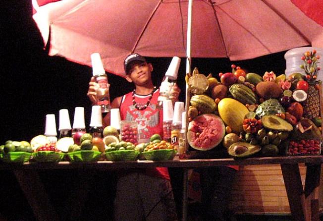 Caipi-fruta en el Morro de San Pablo