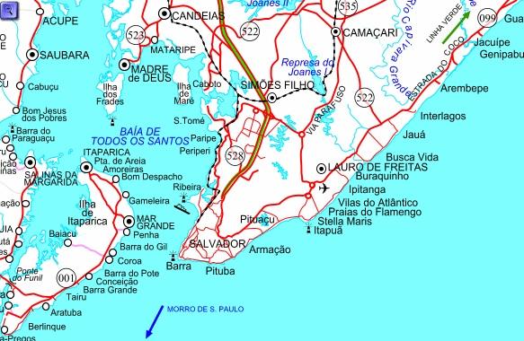 Mapa para moverse en Salvador de Bahía