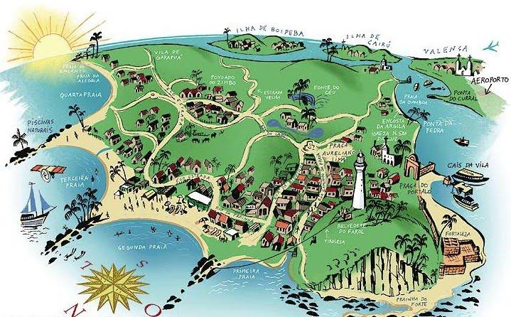 Mapa de playas en Morro de San Pablo