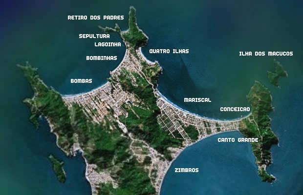 Llegary moverse en Bombas y Bombinhas: mapa general del balneario